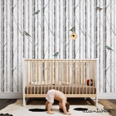 Birch tree peel & stick fabric wallpaper. This re-positionable wallpaper is designed and made in our studios in New Jersey. The designs are printed