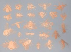 Copper Luster Decal, Bees