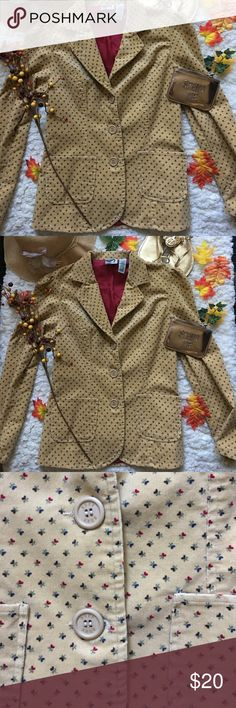 ❤Roxy Blazer❤ ❤In great used condition vintage Blazer by Roxy in size Large❤Background color is mustard yellow with small floral prints❤ Roxy Tops