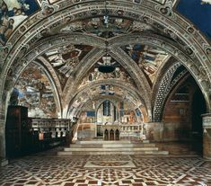 GOTHIC, Italy - The Lower church at Assisi was frescoed later by the Gothic painter Cimabue (active 1272-1302). The Lower Church was built entirely in the Romanesque style, having a low semi-circular ribbed cross-vaults over the nave and barrel vaults over the transept arms.