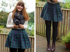 Sian from http://www.rebelangel.co.uk says - My favourite way to wear tartan is to play up the wintery element by sticking on a nice woolly jumper or thick pair of tights i like her style