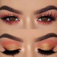 Valentine's Day Eye Looks - Yellow and orange and pink eotd eye makeup eyeshadow Effektive Bilder, die wir über make up prom - Gold Eye Makeup, Eye Makeup Tips, Makeup Goals, Makeup Inspo, Eyeshadow Makeup, Makeup Inspiration, Beauty Makeup, Makeup Ideas, Huda Beauty