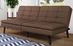 Brown Tufted Sofa Futon Cushion Pillow Top Sturdy Transitional Living Room Decor #sofafuton