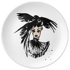 halloween fashonillustration with ravens dinner plate - halloween decor diy cyo personalize unique party