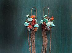 Aquamarine agate turquoise kyanite earrings. Long by MADAMBLUEONE