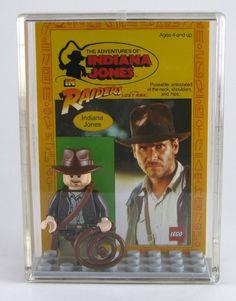 LEGO Indiana Jones Minifigure Display with figure - Indiana Jones in leather jacket. $18.00, via Etsy.