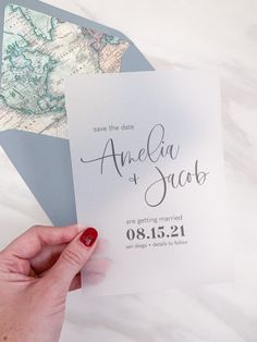 Vellum Save the Date, Modern Typography Save our Date, Minimalist Save the Date Card, Transparent Vellum Wedding Announcement with Map Liner