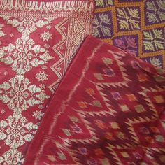 Antique Balinese textiles..songket wtih silver threads, and silk weft ikat endek     #antiquebalinesetextiles www.kulukgallery.com