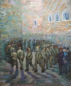 Prisoners' Round (1890) by Vincent van Gogh, born March 30th, 1853.