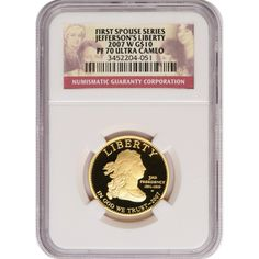 2007-W First Spouse Jeffersons Liberty Half Ounce Gold Coin PF70 UC NGC