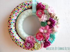 Wrapped Ribbon Double Wreath. Made by Wreaths By Emma Ruth