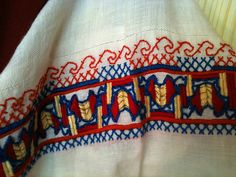 Embroidery detail on Finnish regional costume