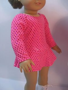 2072 American Girl 18 Inch Doll Clothes  Ice by terristouch, The dress is made from a 2-way stretch fabric. Because Velcro would snag this fabric there is no opening in the back. However, due to the stretchiness of the fabric and the soft elastic at the neck and leg openings, it is extremely easy to put on the doll. Attached matching panties are under the skirt.