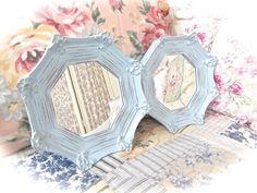 Shabby Summer Skies Blue Distressed Ornate Scalloped by MoFauxChic