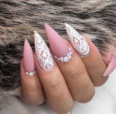 32 Extraordinary White Acrylic Nail Designs to Finish Your Trendy Look - Pink and White Acrylic Nails Sparkle Acrylic Nails, Oval Acrylic Nails, Cute Acrylic Nail Designs, Oval Nails, Pink White Nails, White Coffin Nails, Pink Nail Art, Lace Nail Art, Lace Nails