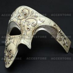 Venetian Silver Lining Half Men Masquerade Mask 'Phantom of the Opera' Design