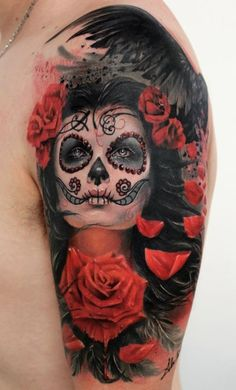 Mexican tattoo presenting woman looking up with raven and roses symbols