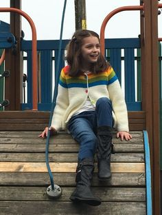 Paintbox Rainbow Cardigan knitting project by Fiona C on the Loveknitting Community! Knitting For Kids, Knitting Projects, Baby Knitting, Knitting Patterns, Rainbow Cardigan, Baby Knits, Helicopters, Pattern Design, Hipster