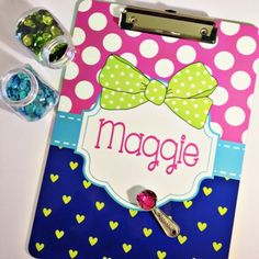Polka Dots & Hearts Clipboard