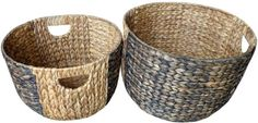 2 Pack Waterhyacinth Baskets Natural 2 Tone Handle Decorative Hand Wicker Set #BAUM
