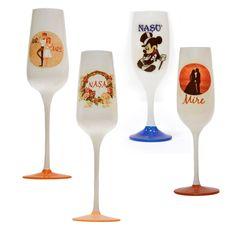 Set 4 pahare sampanie nunta sau botez, pentru miri si nasi Nasa, Wine Glass, Tableware, Dinnerware, Tablewares, Dishes, Place Settings, Wine Bottles