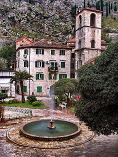 Love the fountain with the circular fan of brick {Kotor, Montenegro}