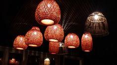 Basket look pendant lights