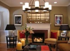 Love the candles in fireplace idea <3