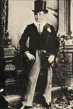 Churchill as a 15-year-old in the full Harrow School uniform, including top hat and cane. Though he was negelected by his parents and felt lonely while at the Harrow, Churchill excelled in Maths and History and became the school's fencing champion.