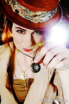 Felicia Day modeling for Clockwork Couture