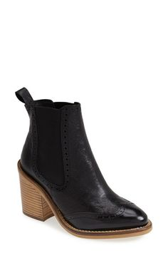 Free shipping and returns on Topshop 'Maine Brogue' Chelsea Ankle Bootie (Women) at Nordstrom.com. Perfectly on-trend, borrowed-from-the-boys ankle booties feature a wingtip with blind broguing and a chunky stacked heel, as well as stretchy side panels for a custom fit. Let's hear it for the girls!