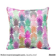Hawaiian Pineapple Pattern Tropical Watercolor Throw Pillow by Girly Trend - Cover x with pillow insert - Indoor Pillow Tropical Home Decor, Modern Tropical, Tropical Furniture, Tropical Interior, Tropical Colors, Tropical Flowers, Pop Art, Arte Pop, Pineapple Pattern