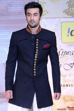indian groom outfit modeled by Ranbir Kapoor Wedding Dress Men, Tuxedo Wedding, Indian Wedding Outfits, Wedding Men, Wedding Ideas, Indian Weddings, Formal Wedding, Wedding Suits, Wedding Couples