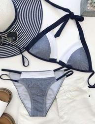 Chicnico Women's Blue Bikini Halter Strappy Sexy Fashion Beach Push up Swimsuit