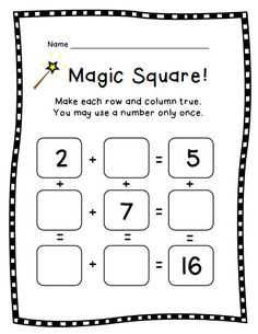 Magic Square 2, a math puzzle worksheet for 2nd grade and