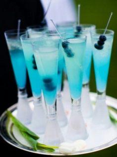 Refreshing Fancy Blue Cocktails With Blueberry Garnish! Yummmmmm!!!!!!!