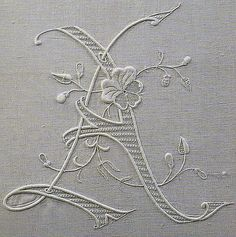 """Embroidered initial """"A"""" from an old, long out-of-print Italian book on beautiful monogram embroidery. Embroidery Monogram, White Embroidery, Ribbon Embroidery, Cross Stitch Embroidery, Embroidery Patterns, Machine Embroidery, Motif Floral, Linens And Lace, Needlework"""