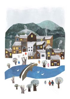 village scene in winter - Clover Robin, artist Winter Illustration, Collage Illustration, Watercolor Illustration, Collage Art, Illustrations Posters, Collages, Unusual Presents, Stop Motion, Illustrators