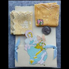 Two 1930's UNUSED Vintage Handkerchiefs in Southern Belle Die Cut from toinetterl on Ruby Lane