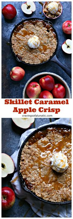 This Skillet Caramel Apple Crisp is the perfect easy dessert recipe for everyday, special occasions or holidays.#sponsored #apple #dessert @sweetangoapples