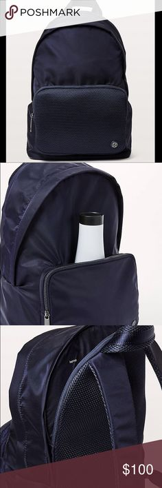 NWT Lululemon Navy Everyday Backpack NWT, Lululemon Everyday Backpack in Navy. Perfect for school, gym or traveling! There are 2 large pockets; one is for a laptop or tablet and the other is the main compartment. The main compartment has 2 zip closures as pictured. Then there are 2 zip closures on the outside; one in the front and one on the side of the back (as pictured). And an open pocket behind front zip closure. Material is water-repellent, durable and wash to wipe clean. The bag is…