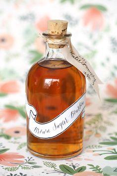 Brown sugar bourbon is such a fun wedding favor idea! {Photo courtesy of @reveriemade}