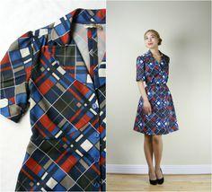 1960s Dress  Blue Geometric Print Mod by PrettyBonesJefferson, $42.00