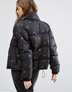 Lazy Oaf Padded Jacket With Hearts