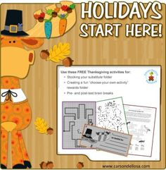 Stock up on FREE and FUN seasonal activities for Thanksgiving! #teachers #activities #classroom #ideas
