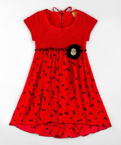 Love this Red Bow Rosette Cap-Sleeve Babydoll Dress - Toddler & Girls on #zulily! #zulilyfinds