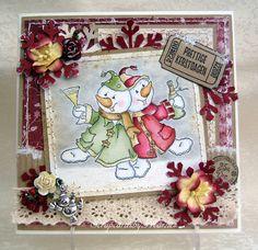 Scrapcards by Marlies: Party Snowmen