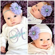 Newborn Baby Girl Take Home Outfit Personalized Monogram Clothes Bodysuit or Gown Beanie Hat Headband Options Lavender Teal Baby Girl Gift by mamabijou on Etsy https://www.etsy.com/listing/220967478/newborn-baby-girl-take-home-outfit
