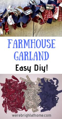 Farmhouse Garland - Easy DIY - Learn how to make this easy farmhouse garland. It looks great as home decor, party/bbq decorations or even on the porch! Rag Garland, Ribbon Garland, Fabric Garland, Diy Ribbon, Light Garland, Bunting Garland, Diy Christmas Garland, Christmas Fabric, Christmas Crafts