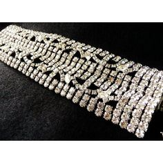 Vintage Gale wide rhinestone bracelet ($110) ❤ liked on Polyvore featuring jewelry, bracelets, wide bangle, vintage jewellery, rhinestone bangles, vintage rhinestone jewelry and vintage bangles